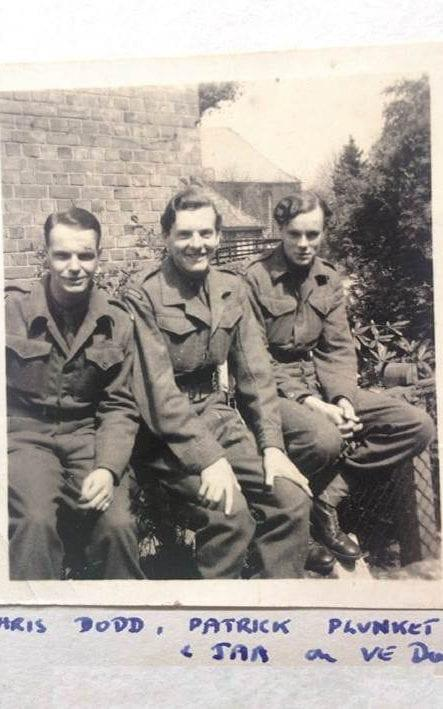Col Aylmer, far right, photographed in Germany on VE Day - family photo