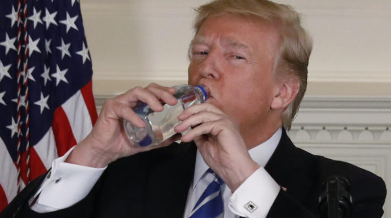 People Are Hilariously Reimagining Donald Trump's Awkward Water Bottle Moment