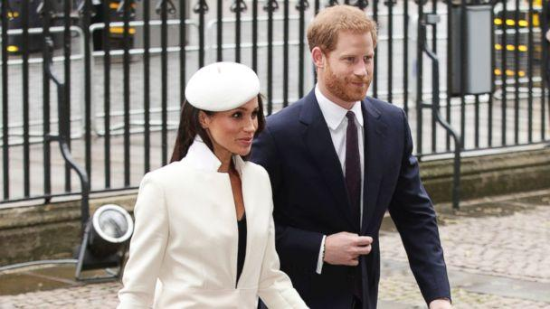 PHOTO: Britain's Prince Harry and Meghan Markle, arrive for the Commonwealth Service at Westminster Abbey in London, March 12, 2018. (Yui Mok/PA via AP)