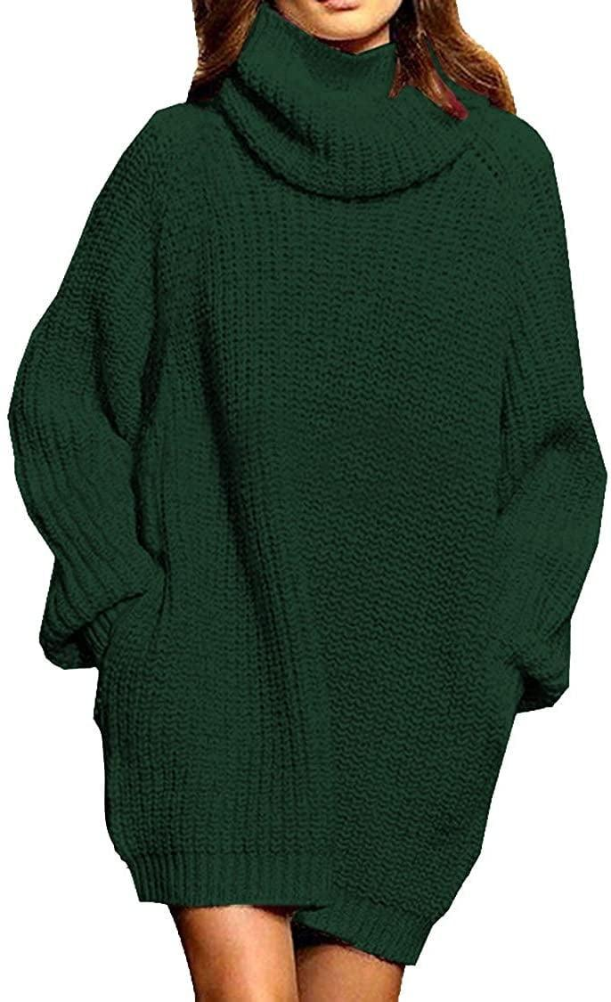 <p>They can style this <span>Loose Turtleneck Oversize Pullover Sweater Dress</span> ($35) so many ways.</p>