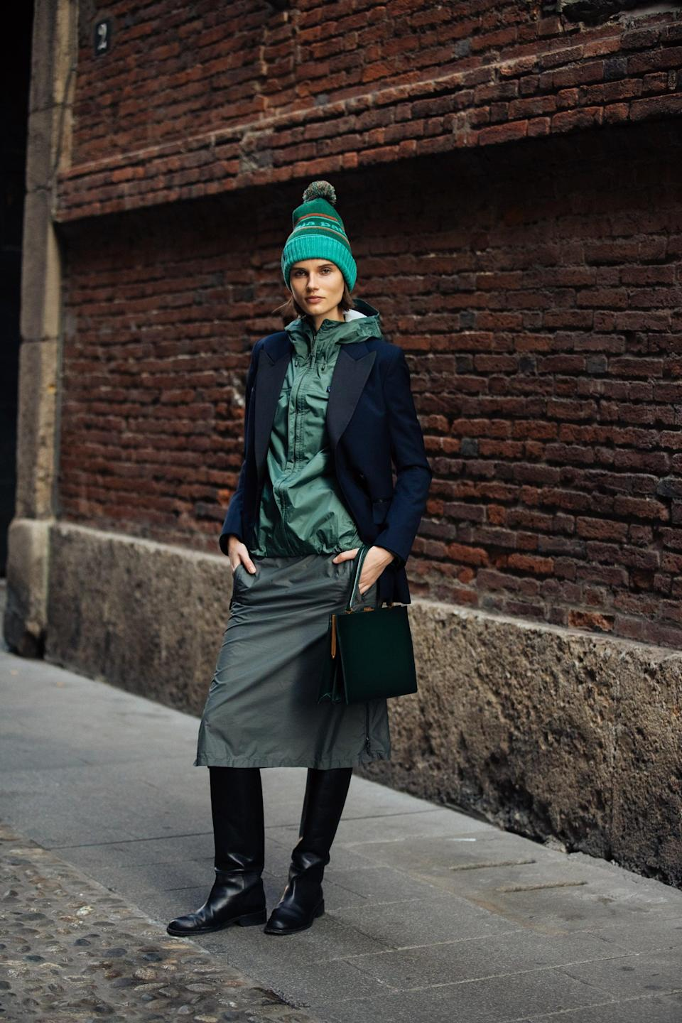<p>If you're mixing styles - say something tailored with something sporty - a beanie is a nice way to bridge the gap. Try layering a hoodie underneath a blazer to start; then pair with trousers or a skirt. Capping it off with a beanie ties together the more formal pieces with the casual and gives it all a cool, intentional effect. </p>