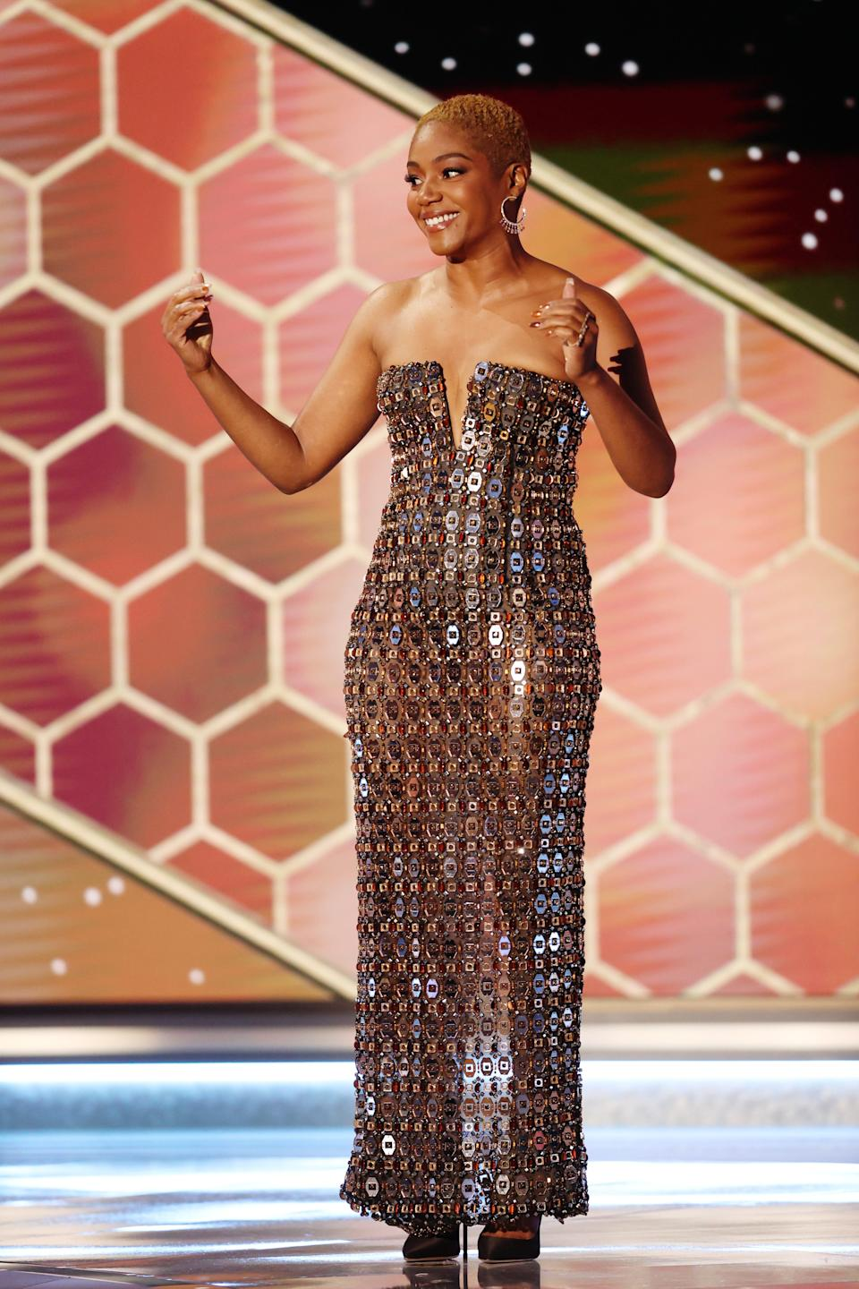 Tiffany Haddish was a presenter at the 78th Annual Golden Globe Awards at the Beverly Hilton Hotel on Sunday.