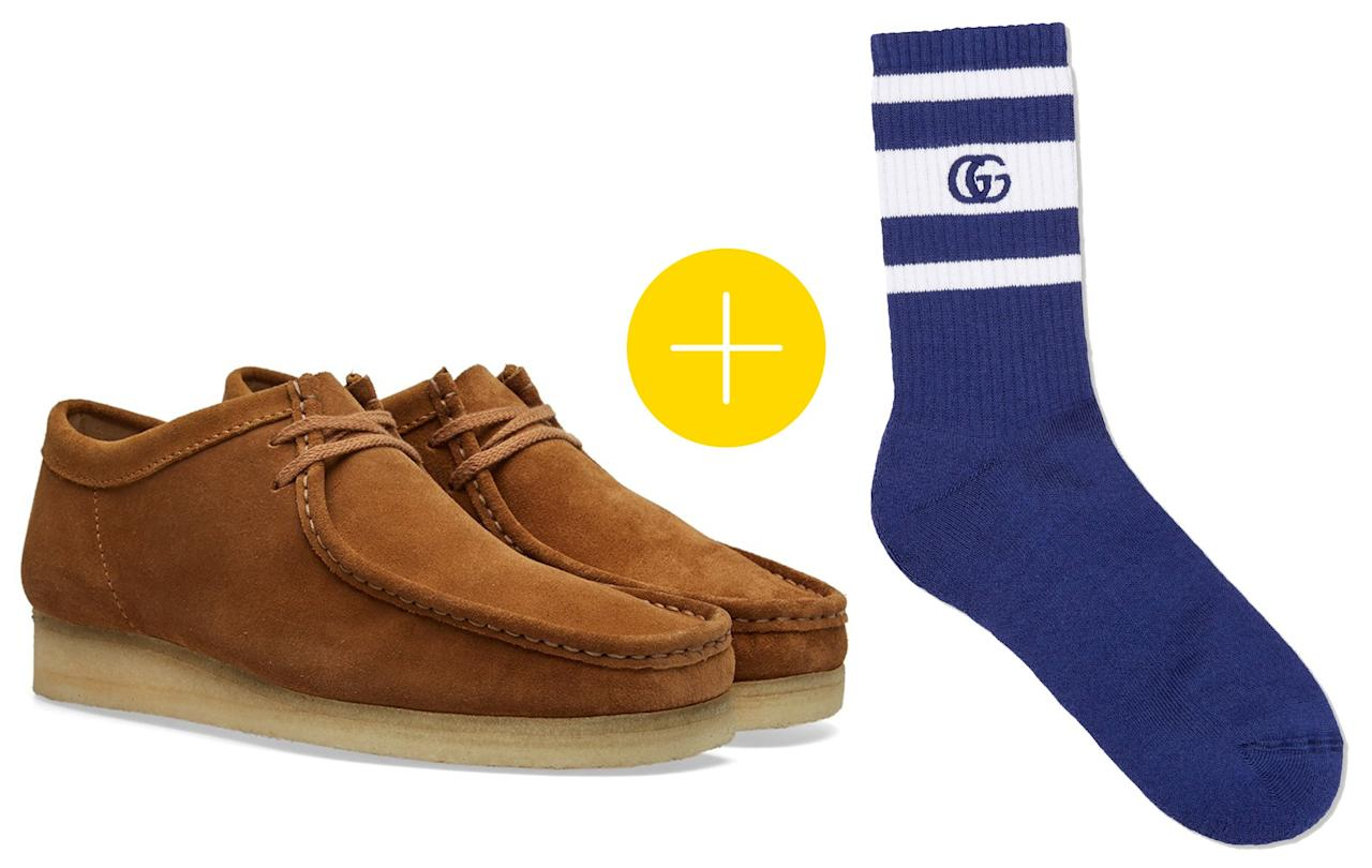 """<p>Shoes: Clarks, $109, buy now at <a rel=""""nofollow"""" href=""""https://www.endclothing.com/us/clarks-originals-wallabee-26103784.html?mbid=synd_yahoostyle"""">endclothing.com</a> Socks: Gucci, $95, buy now at <a rel=""""nofollow"""" href=""""https://www.gucci.com/us/en/pr/men/mens-shoes/mens-socks/stretch-cotton-socks-with-gg-p-4500414G4904277?mbid=synd_yahoostyle&siteID=J84DHJLQkR4-Gpe2_pTk1SDXWtmaOXmh.g&utm_campaign=110064249793306085065000244688&utm_content=15&utm_medium=affiliates&utm_source=J84DHJLQkR4&utm_term=J84DHJLQkR4"""">gucci.com</a></p>"""