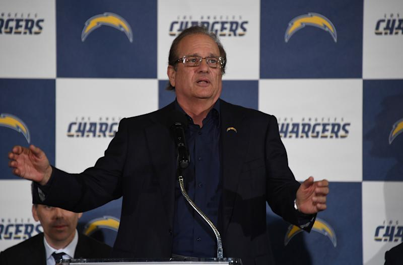 Jan 18, 2017; Inglewood, CA, USA; Los Angeles Chargers owner Dean Spanos speaks during the Los Angeles Chargers Kickoff Ceremony at the The Forum. Mandatory Credit: Kirby Lee-USA TODAY Sports