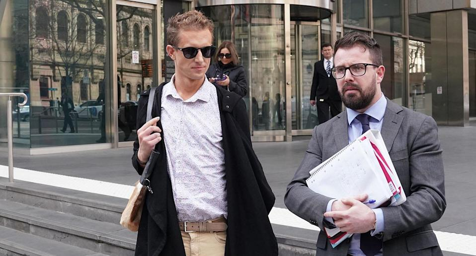 Melbourne man Timothy Ruge (left) pleaded guilty after trying to blackmail a man after connecting on Grindr.