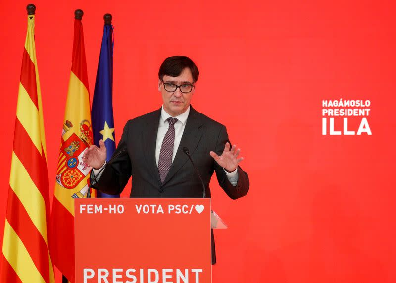 FILE PHOTO: Socialist Party of Catalonia (PSC) campaign meeting ahead of the Catalan elections, in Barcelona