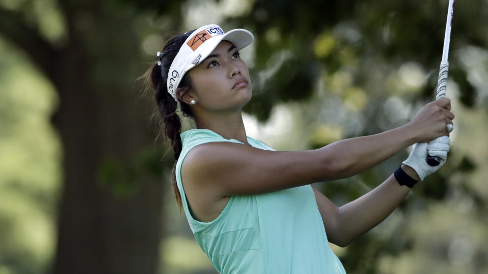 Bianca Pagdanganan of the Philippines follows through on her tee shot on the second hole during the third round of the Marathon Classic LPGA golf tournament Saturday, Aug. 8, 2020, at the Highland Meadows Golf Club in Sylvania, Ohio. (AP Photo/Gene J. Puskar)