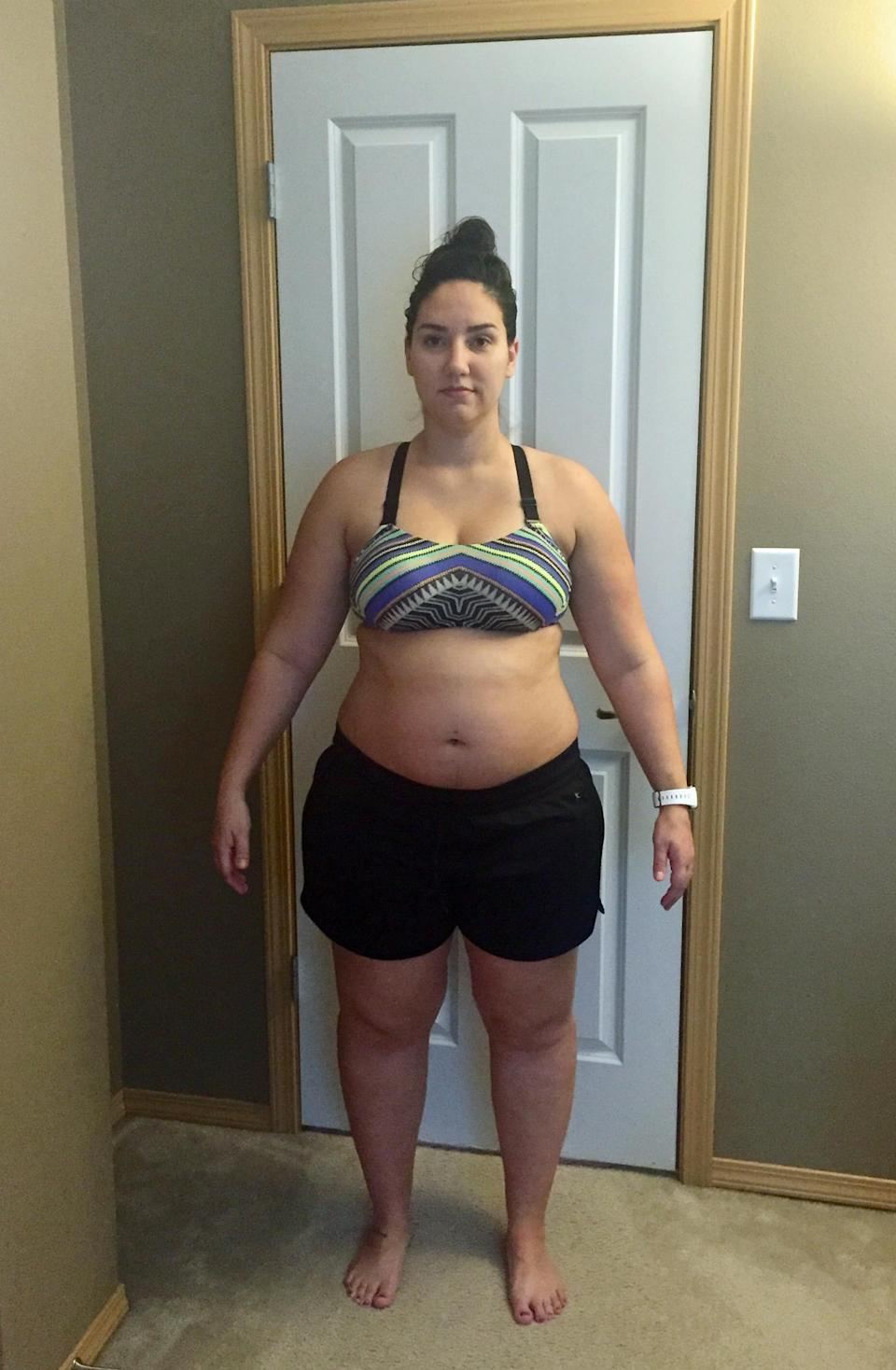 The mum weighed over 100kg after two pregnancies. Photo: Caters News