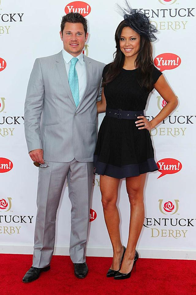"Nick Lachey and his fiancee, Vanessa Minnillo, got all decked out for the occasion. While we loved Vanessa's cute belted mini, her tiny hat seemed a little silly. Michael Hickey/<a href=""http://www.wireimage.com"" target=""new"">WireImage.com</a> - May 7, 2011"