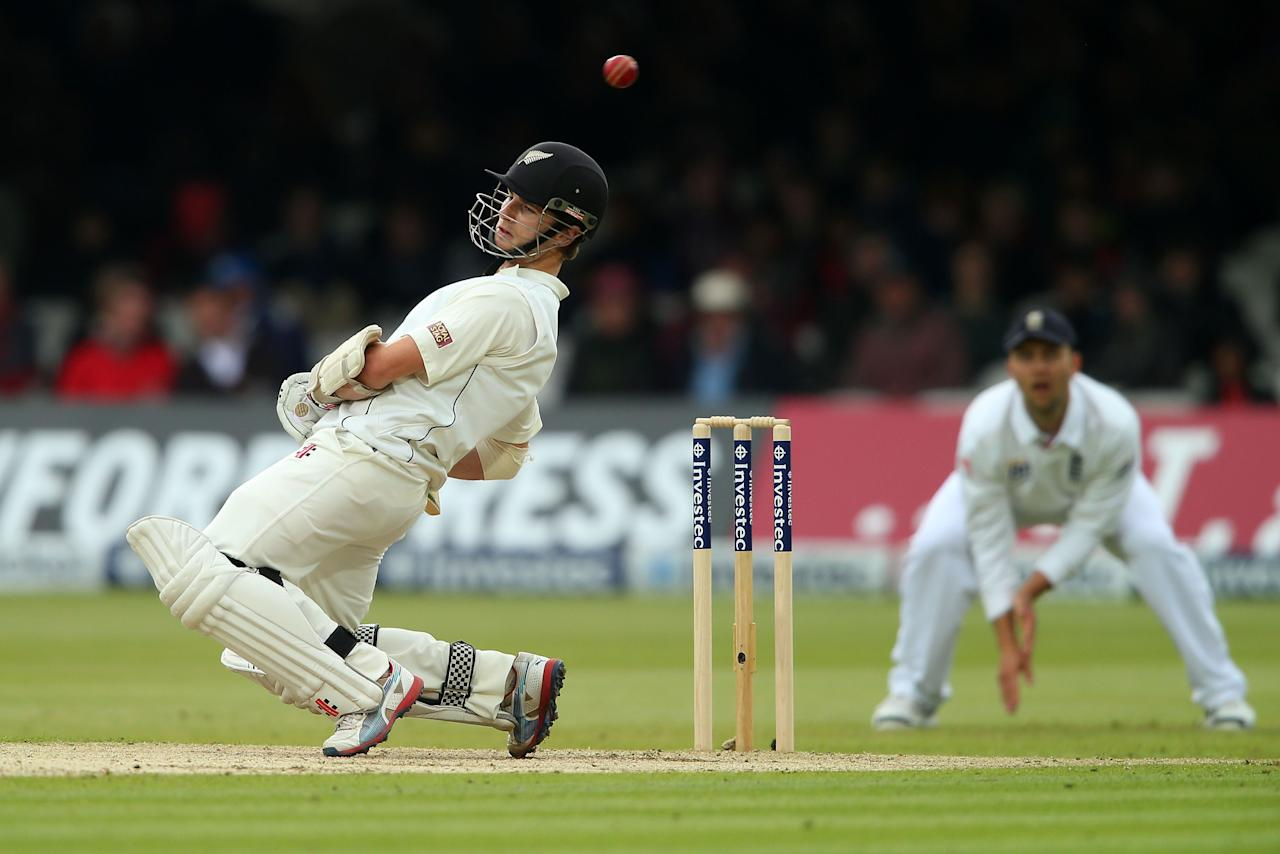 LONDON, ENGLAND - MAY 17: Kane Williamson of New Zealand ducks a high ball off the bowling of Steven Finn of England during day two of 1st Investec Test match between England and New Zealand at Lord's Cricket Ground on May 17, 2013 in London, England. (Photo by Clive Rose/Getty Images)