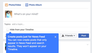 Facebook rolls out temporary News Feed posts that can be hidden