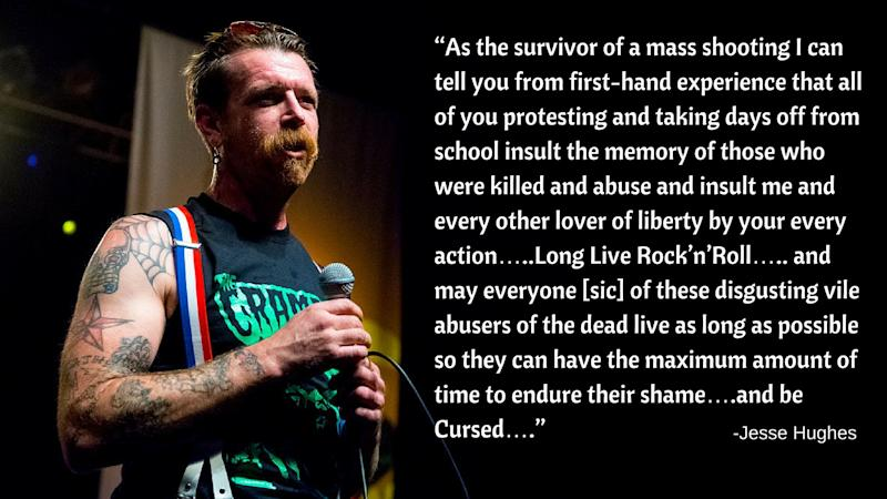 Jesse Hughes rails against Parkland shooting survivors.