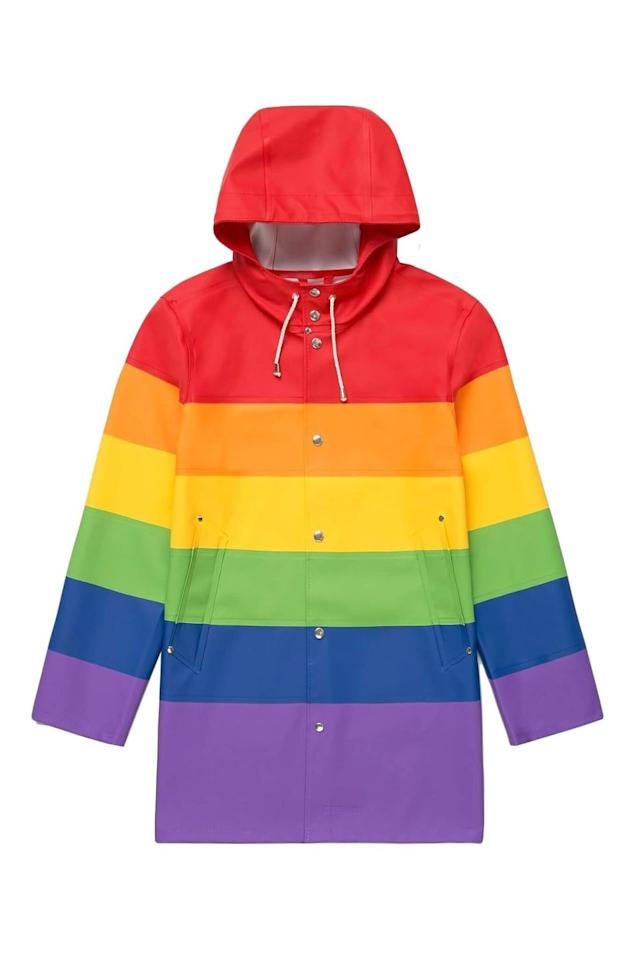 """<p>£260</p><p><a class=""""body-btn-link"""" href=""""https://stutterheim.com/uk/man/limited/vladimir-rainbow"""" target=""""_blank"""">SHOP NOW</a></p><p>This eye-catching raincoat is made from rainbow rubberised cotton and comes with classic snap fastenings and a drawstring hood.</p><p>10% of all sales go to an international organisation fighting for LGBTQ+ equality and rights.</p>"""