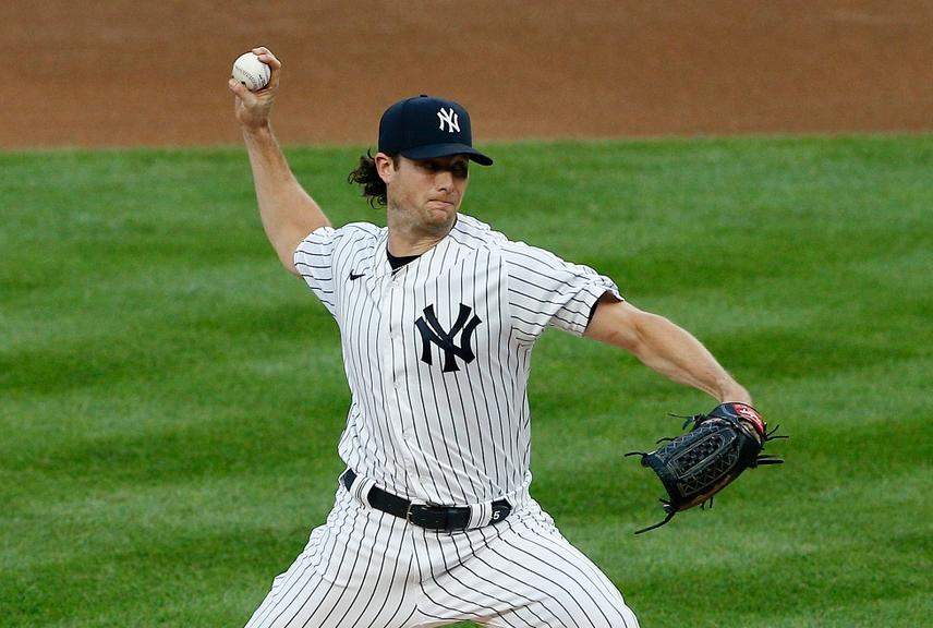 Gerrit Cole pitching in pinstripes vs. Red Sox