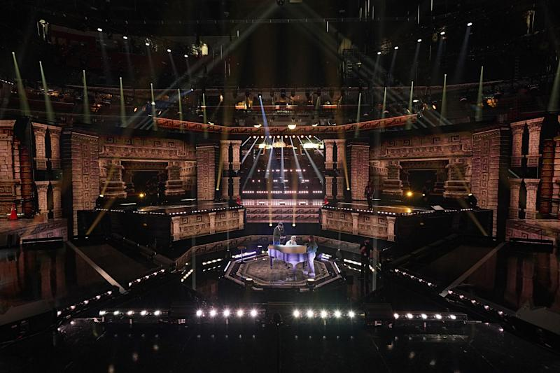 A look at the 2020 Billboard Latin Music Awards stage design, which features a central stage surrounded by four performance stages.