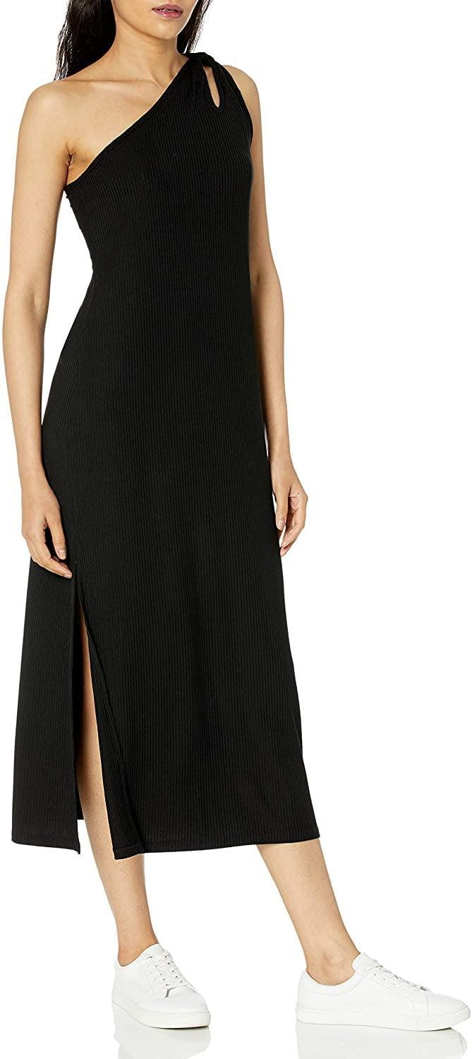 <p>Can you tell we're into asymmetrical dresses lately? This <span>The Drop Mickey Loose-Fit One-Shoulder Cutout Rib Knit Dress</span> ($40) was too fun to miss. From the one-shoulder silhouette to the side slit, it's very put-together.</p>