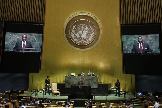 Malawi's President Arthur Peter Mutharika addresses the 74th session of the United Nations General Assembly, Thursday, Sept. 26, 2019, at the United Nations headquarters. (AP Photo/Frank Franklin II)
