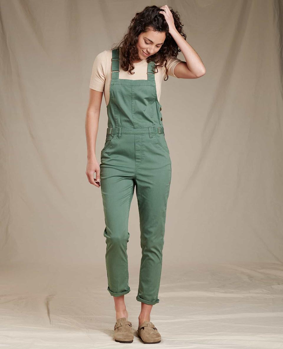 """<br><br><strong>Toad&Co</strong> Touchstone Overalls, $, available at <a href=""""https://go.skimresources.com/?id=30283X879131&url=https%3A%2F%2Fwww.toadandco.com%2Fwomens%2Fclothing%2Fjumpers-rompers%2FTouchstone-Overalls%3Fquantity%3D1%26color%3DDuck%2520Green%2520Vintage%2520Wash"""" rel=""""nofollow noopener"""" target=""""_blank"""" data-ylk=""""slk:Toad&Co"""" class=""""link rapid-noclick-resp"""">Toad&Co</a>"""