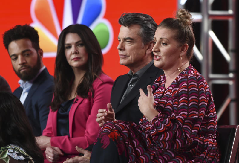 "Mandy Moore, right, the producer/choreographer of the NBCUniversal series ""Zoey's Extraordinary Playlist,"" discusses the show alongside cast members, from left, John Clarence Stewart, Lauren Graham and Peter Gallagher at the 2020 NBCUniversal Television Critics Association Winter Press Tour, Saturday, Jan. 11, 2020, in Pasadena, Calif. (AP Photo/Chris Pizzello)"