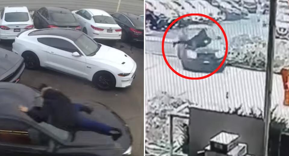 Moe Al-Kaissy, 23, clings to the bonnet of a stolen BMW M4