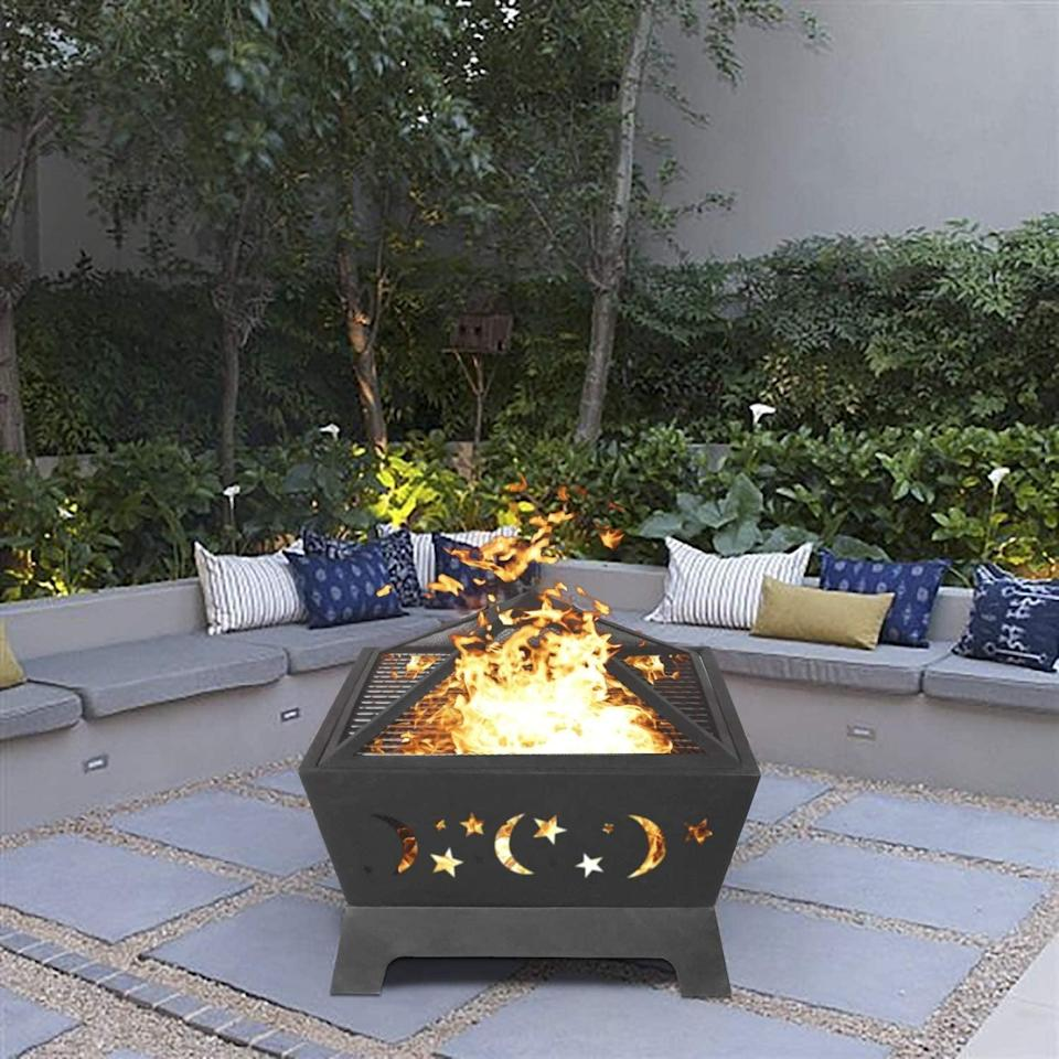 <p>The starry pattern on this <span>Patio Bonfire</span> ($129) is not only elegant, but it also vents the fire and helps it to last longer.</p>