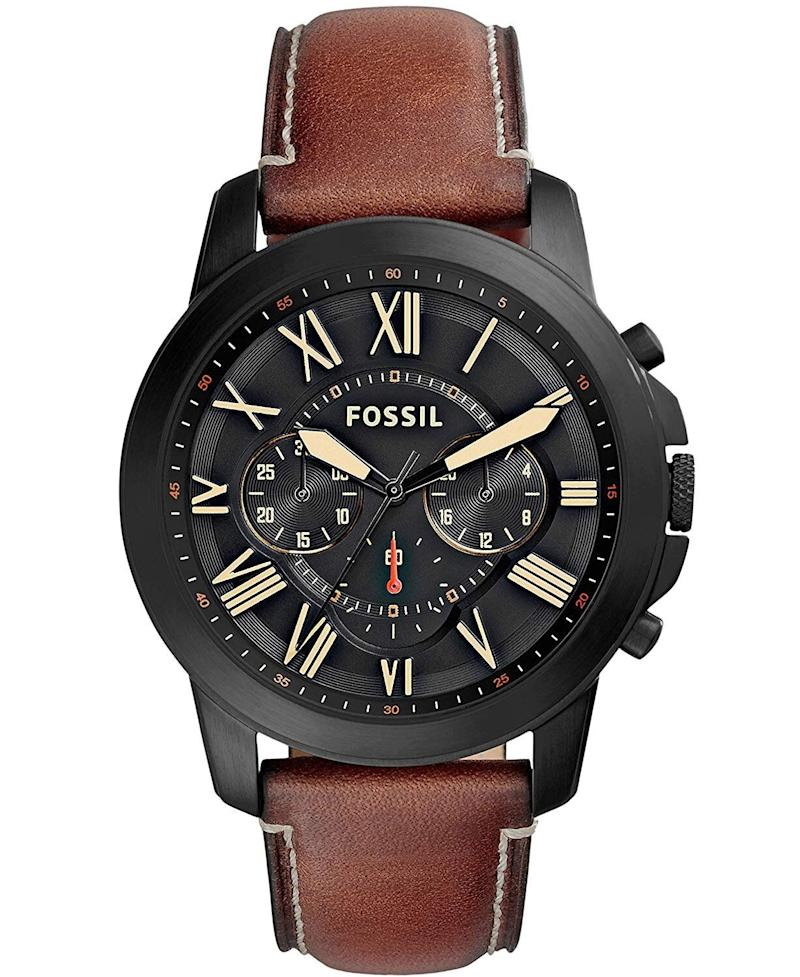 This Fossil watch comes in black and brown — and is the perfect accessory for any dad's style. (Photo: Amazon)