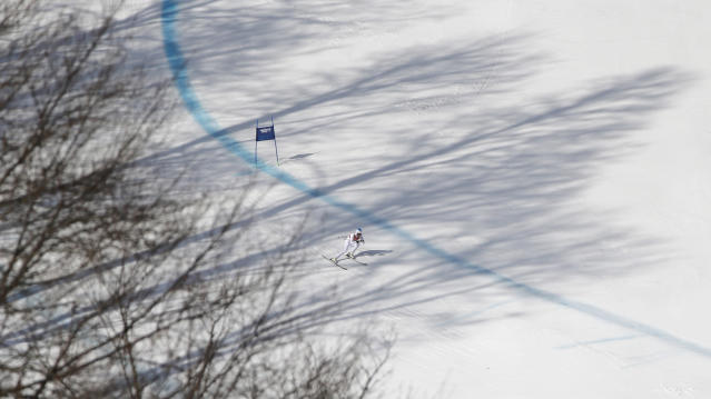 United States' Julia Mancuso nears the finish in the downhill portion of the women's supercombined at the Sochi 2014 Winter Olympics, Monday, Feb. 10, 2014, in Krasnaya Polyana, Russia. (AP Photo/Christophe Ena)