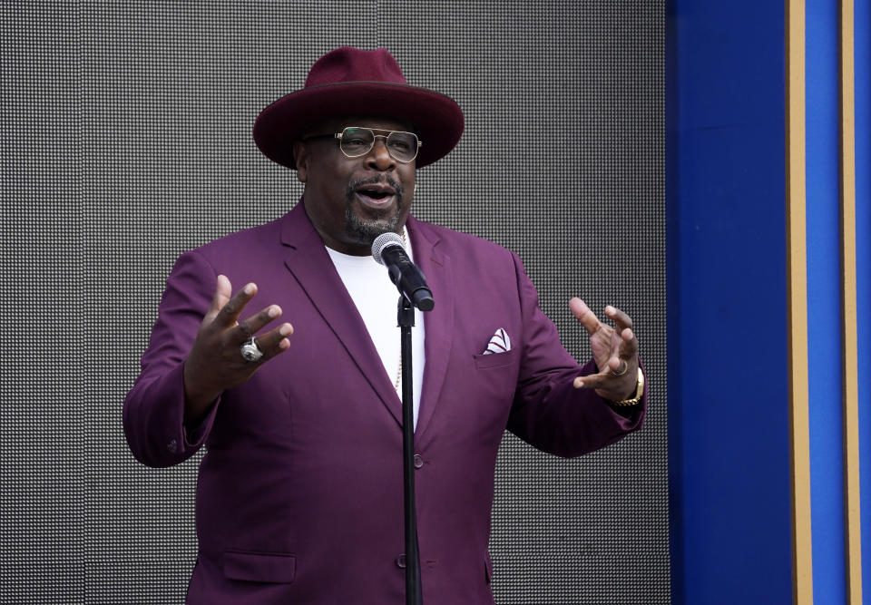 Cedric the Entertainer, host of Sunday's 73rd Primetime Emmy Awards, addresses the media during the show's Press Preview Day, Wednesday, Sept. 14, 2021, at the Television Academy in Los Angeles. The awards show honoring excellence in American television programming will be held at the Event Deck at L.A. Live. (AP Photo/Chris Pizzello)