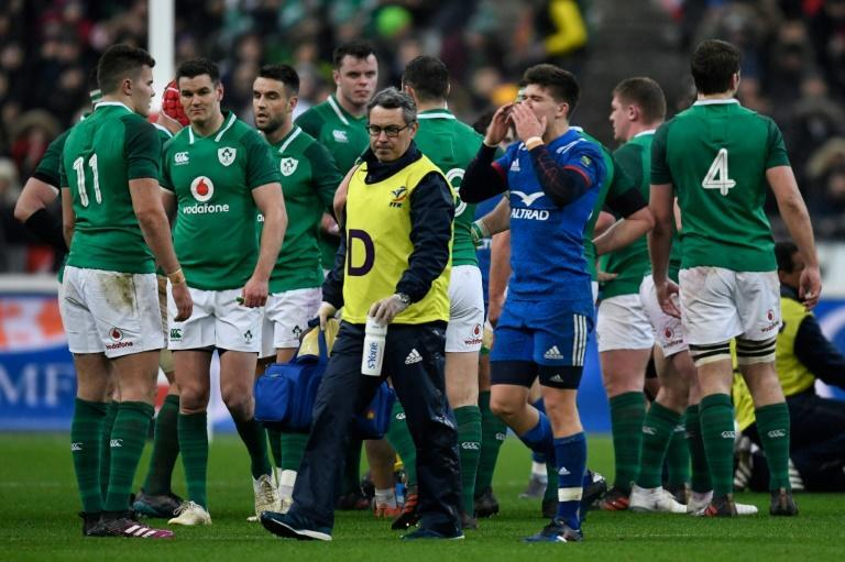 France's Matthieu Jalibert leaves the field during the 2018 loss to Ireland