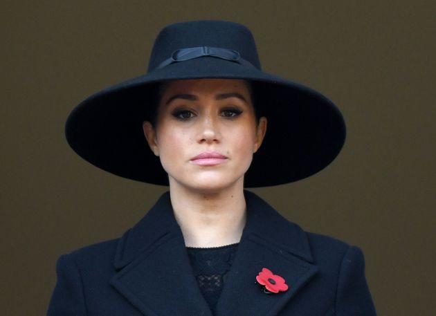 LONDON, ENGLAND - NOVEMBER 10: Meghan, Duchess of Sussex attends the annual Remembrance Sunday memorial at The Cenotaph on November 10, 2019 in London, England. (Photo by Karwai Tang/WireImage)