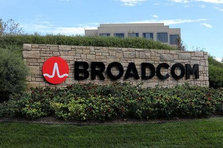 A sign to the campus offices of chip maker Broadcom Ltd who announced on Monday an unsolicited bid to buy peer Qualcomm Inc for $103 billion is shown in Irvine California