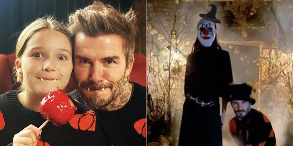 David Beckham Twins with His Daughter Harper for Halloween 2020