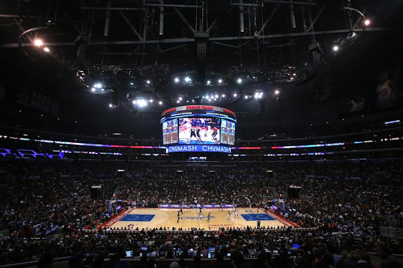 A view of the court during the game between the Brooklyn Nets and the Los Angeles Clippers at the Staples Center on November 16, 2013 in Los Angeles, California