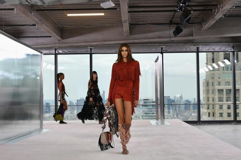 Kaia Gerber walks the runway at the Longchamp Spring/Summer 2019 runway show in New York