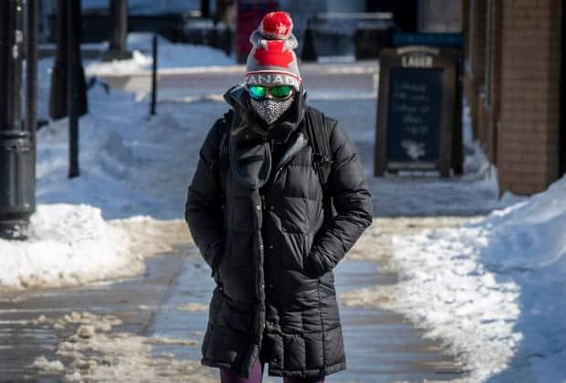 A person wears a mask to protect them from COVID-19 in Kingston, Ont., on Feb. 10. Coronavirus variants haven't found a new way to go through masks, a virologist says.  (Lars Hagberg/The Canadian Press - image credit)