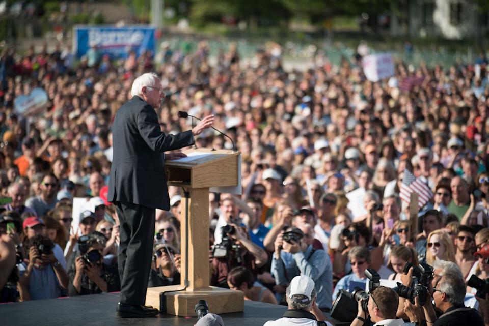 Sen. Bernie Sanders speaks in Burlington, Vt. on Tuesday, May 26, 2015 where he formally announced he will seek the Democratic nomination for president.