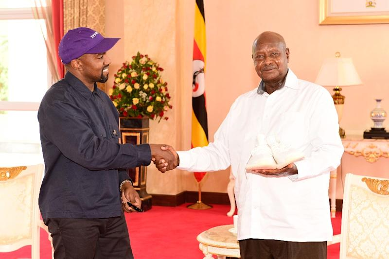 Image result for Kanye West gifts white sneakers to Uganda's president