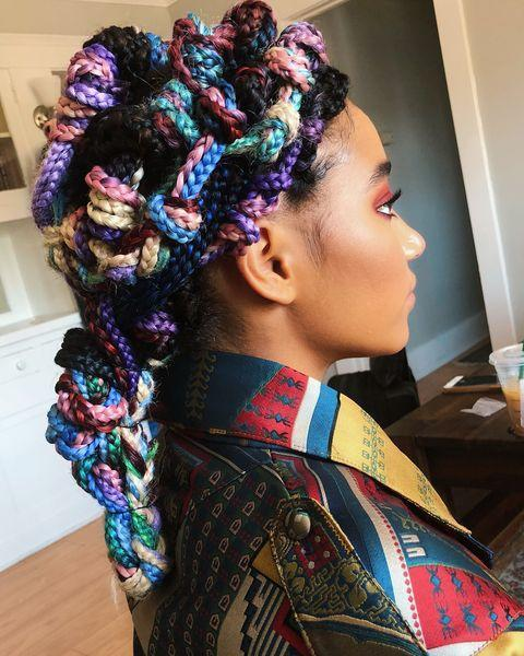 """<p>The gorgeous Amandla Stenberg's box braids were knotted by celebrity hairstylist Vernon Francois, who created a beautiful rainbow design. </p><p><a href=""""https://www.instagram.com/p/BlTugmbgfGV/?taken-by=vernonfrancois"""" rel=""""nofollow noopener"""" target=""""_blank"""" data-ylk=""""slk:See the original post on Instagram"""" class=""""link rapid-noclick-resp"""">See the original post on Instagram</a></p>"""