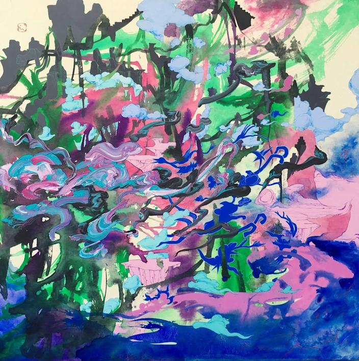 This piece, called The Winds, is by Korean-born artist Jiha Moon. It's ink and acrylic on Hanji paper mounted on canvas and was on display at Toshkova Fine Art Advisory in Charlotte.