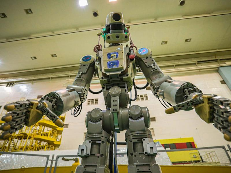 Fedor robot before being loaded into Soyuz capsule to be launched into space from Kazakhastan: Roscosmos Space Agency Press Service photo via AP