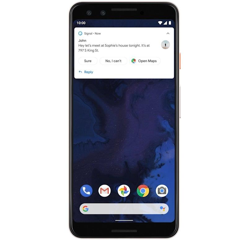Android Q will add suggested actions to its smart replies, making it easier to do things like share addresses. (Image: Google)