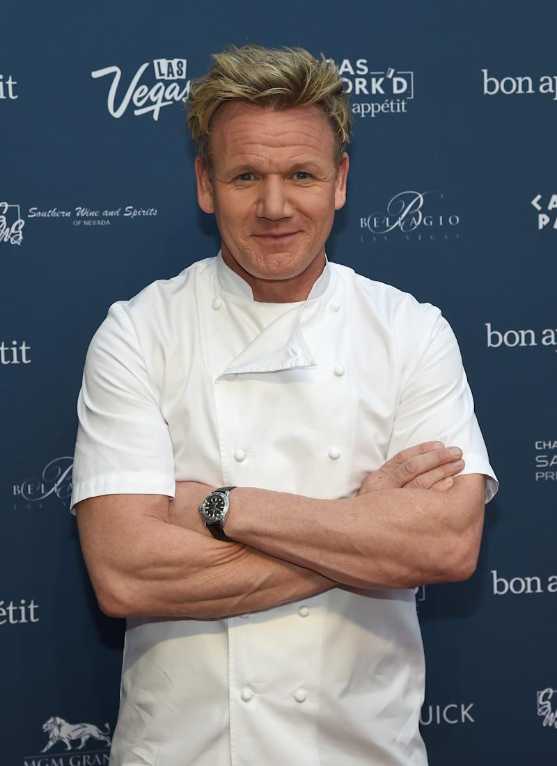 LAS VEGAS, NV - APRIL 24: Chef Gordon Ramsay attends Vegas Uncork'd by Bon Appetit's Grand Tasting event at Caesars Palace on April 24, 2015 in Las Vegas, Nevada. (Photo by Ethan Miller/Getty Images for Vegas Uncork'd by Bon Appetit)