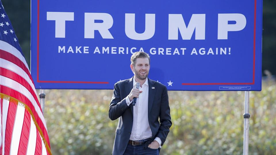 Mandatory Credit: Photo by Nell Redmond/AP/Shutterstock (10946710f)Eric Trump, the son of President Donald Trump, speaks at a campaign rally for his father in Monroe, N.