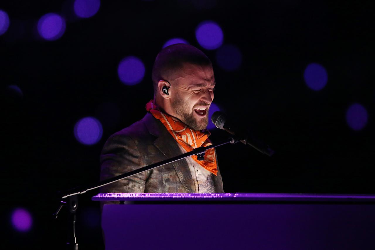 <p>Justin Timberlake performs during half time in Super Bowl LII between the New England Patriots and the Philadelphia Eagles at U.S. Bank Stadium. Mandatory Credit: John David Mercer-USA TODAY Sports </p>