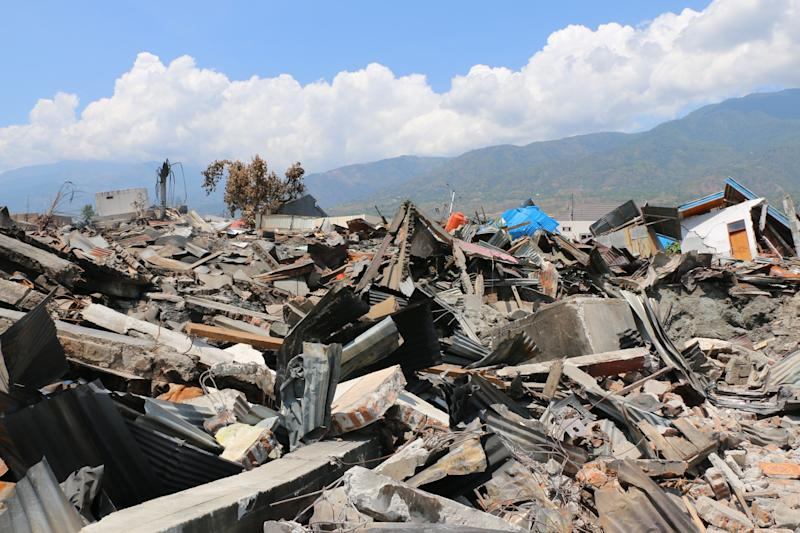 Rescue teams continue searching works at the earthquake and tsunami devastated area in Central Sulawesi, in Indonesia on Oct. 2, 2018.