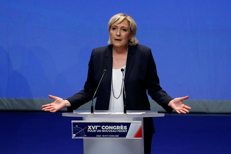 Marine Le Pen's choice of a new name for the party she leads now goes to a vote of its members. (Pascal Rossignol / Reuters)