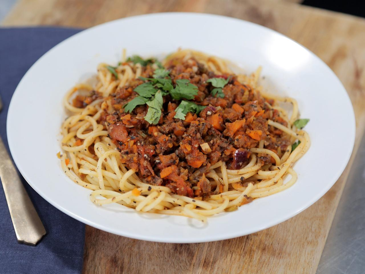 """<p>This hearty, veggie-forward take on classic pasta Bolognese is a dish that everyone at the table will enjoy, regardless of their relationship status with meat. </p> <p><a href=""""https://www.myrecipes.com/recipe/vegan-spaghetti-bolognese"""">Vegan Spaghetti Bolognese Recipe</a></p>"""