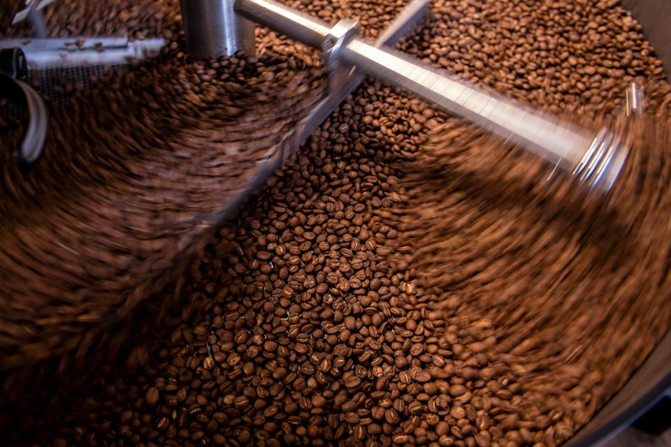 Coffee beans are roasted at Caphe Roasters in Philadelphia.