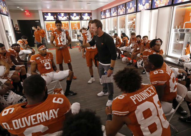 Texas Longhorns wide receivers coach Drew Mehringer talks with players in the locker room at halftime during the game against the LSU Tigers Saturday Sept. 7, 2019 at Darrell K Royal-Texas Memorial Stadium in Austin, Tx. ( Photo by Edward A. Ornelas )
