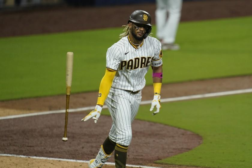 San Diego Padres' Fernando Tatis Jr. reacts after hitting a three-run home run during the sixth inning of Game 2 of a National League wild-card baseball series against the St. Louis Cardinals, Thursday, Oct. 1, 2020, in San Diego. (AP Photo/Gregory Bull)